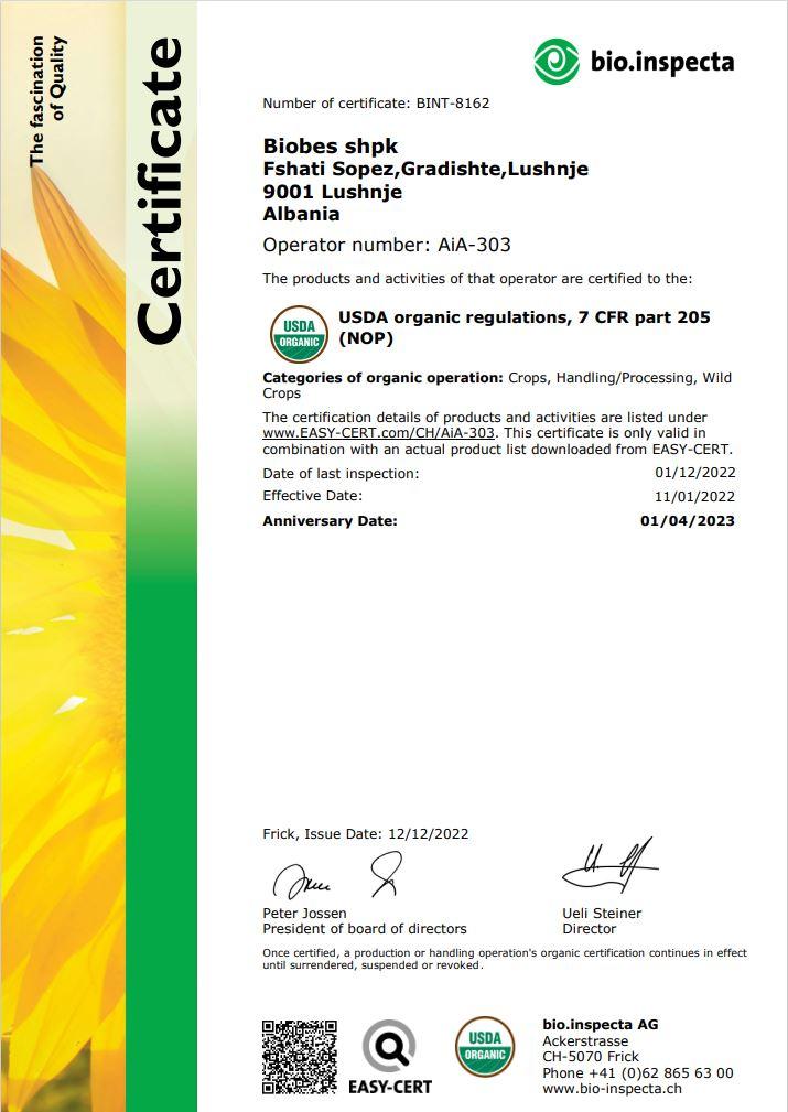 BioInspecta Certificate